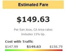 Estimated cab fare from Oakland Airport.