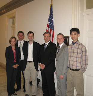 From Left: Laura Kolton (OSA Public Policy Team), Greg Quarles (President of B.E. Meyers Electro Optics), James van Howe (Assistant Professor, Augustana College), Representative Bobby Schilling (IL), Adam Zysk (research associate IIT, Chicago), Hong-Jhang Syu (Research Assistant, National Taiwan University)