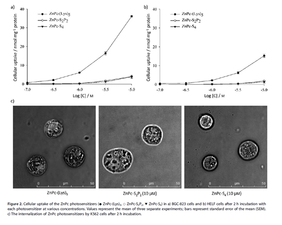 Plots showing enhanced cellular uptake of the photosensitizer ZnPc-(Lys) compared with other sensitizers, and corresponding images of cells
